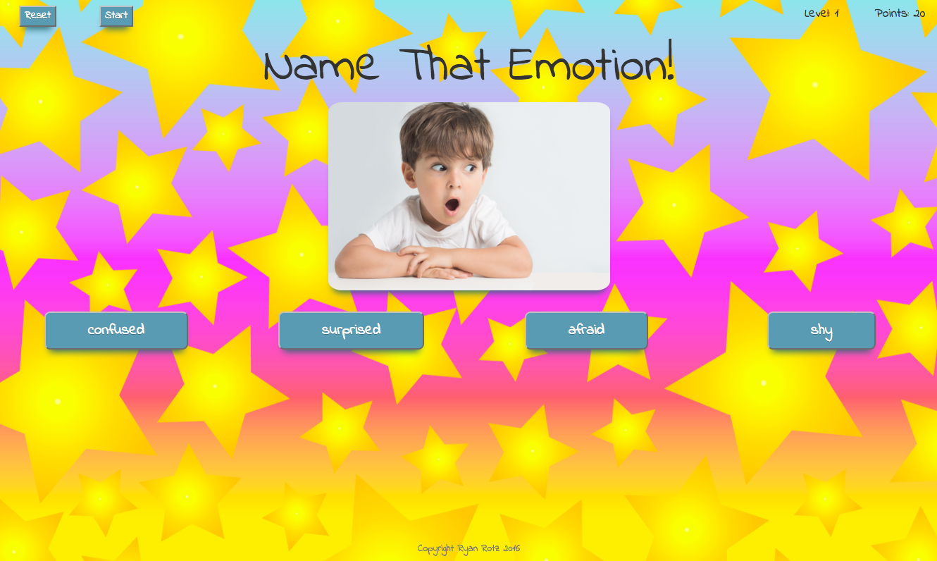 screenshot of Name That Emotion